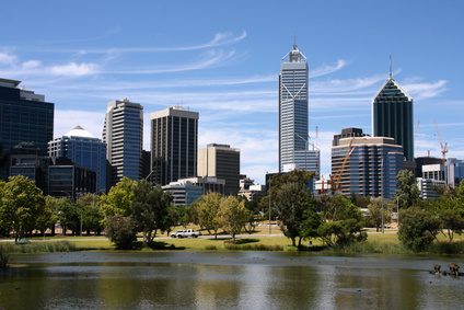 Die Stadt Perth in Australien