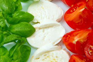 Basilikum, Mozzarella, Tomaten