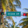 street sign of Ocean Drive in Miami South with traffic light